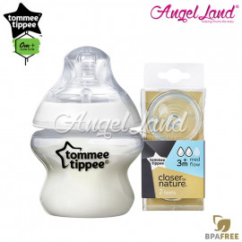 image of Tommee Tippee Closer To Nature PP Bottle 150ml 421111/38 + Tommee Tippee CTN Teat (2pcs/pack) 150ml / 5oz 421111/38 + Medium Flow 421122/38