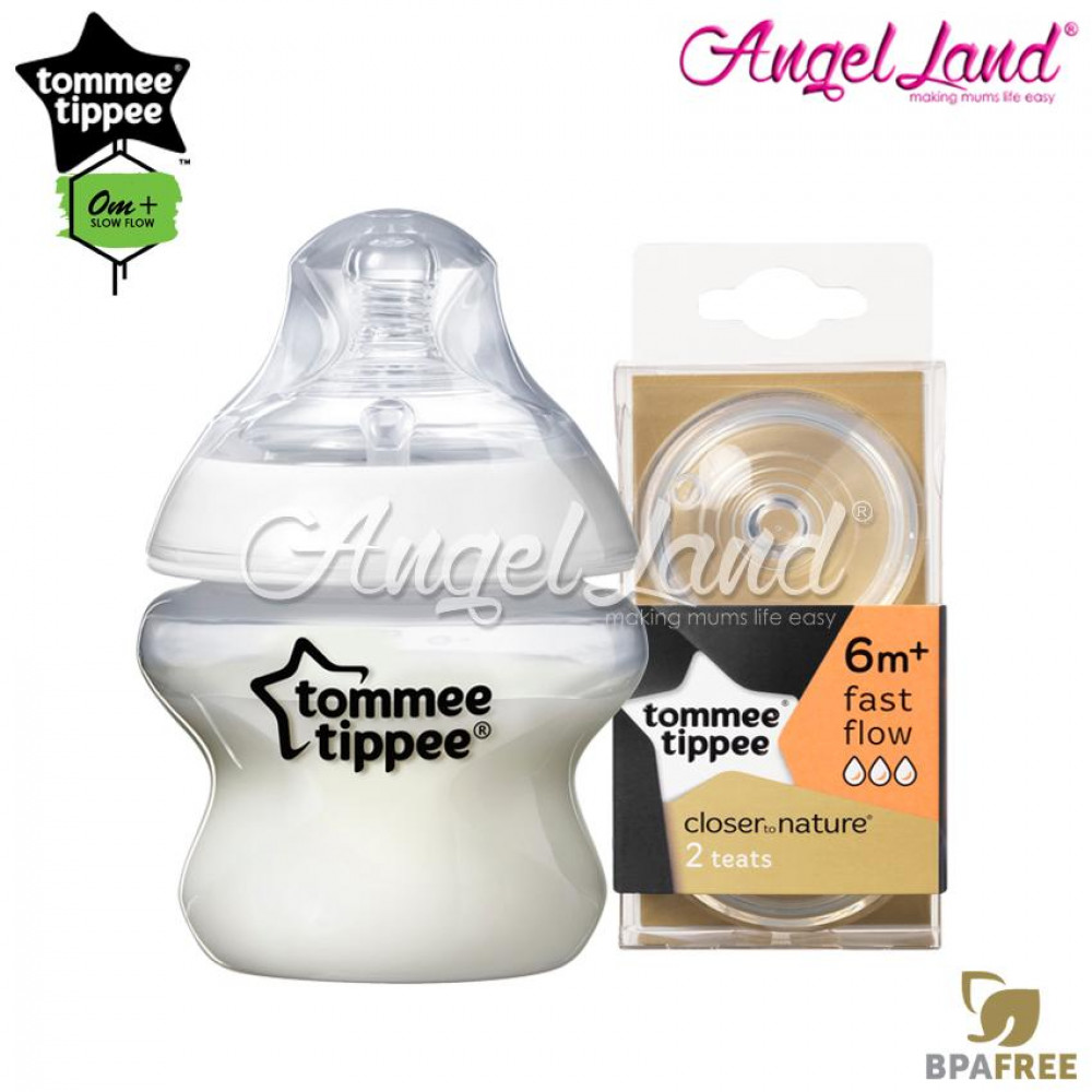 Tommee Tippee Closer To Nature PP Bottle 150ml 421111/38 + Tommee Tippee CTN Teat (2pcs/pack) 150ml / 5oz 421111/38 + Fast Flow 421124/38