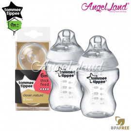 image of Tommee Tippee Closer To Nature PP Bottle 260ml/9oz Twin Pack-422112/38 + Tommee Tippee Closer To Nature Teat (2pcs/pack) Y Flow 422142/38