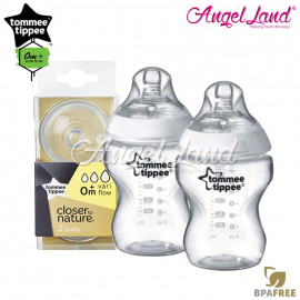 image of Tommee Tippee Closer To Nature PP Bottle 260ml/9oz Twin Pack-422112/38 + Tommee Tippee Closer To Nature Teat (2pcs/pack) Vari Flow 422140/38