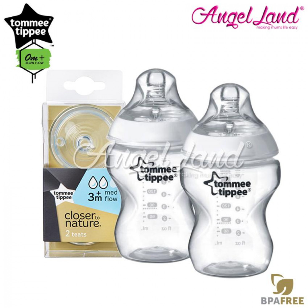 Tommee Tippee Closer To Nature PP Bottle 260ml/9oz Twin Pack-422112/38 + Tommee Tippee Closer To Nature Teat (2pcs/pack) Medium Flow 421122/38