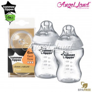 image of Tommee Tippee Closer To Nature PP Bottle 260ml/9oz Twin Pack-422112/38 + Tommee Tippee Closer To Nature Teat (2pcs/pack) Fast Flow 421124/38