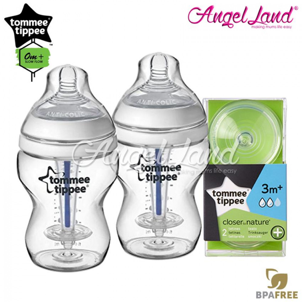 Tommee Tippee Closer To Nature Anti Colic Plus 260ml 9oz Twin Pack Bottle 422525/38  + Tommee Tippee CTN Anti-Colic Teat Medium Teat