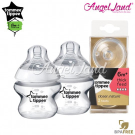 image of Tommee Tippee Closer To Nature PP Bottle 150ml / 5oz Twin Pack - 422100/38 + Tommee Tippee CTN Teat (2pcs/pack) Y Flow 422142/38