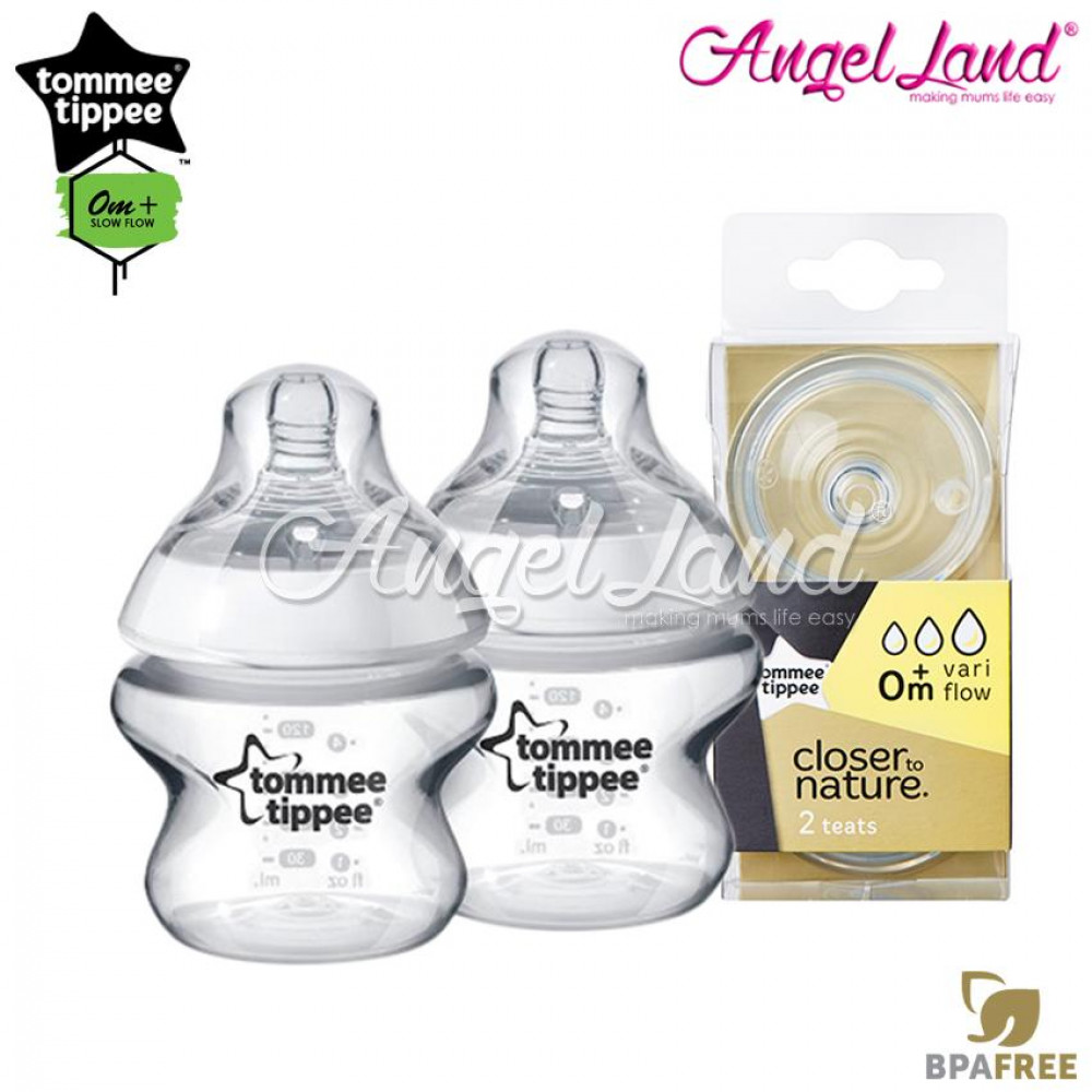 Tommee Tippee Closer To Nature PP Bottle 150ml / 5oz Twin Pack - 422100/38 + Tommee Tippee CTN Teat (2pcs/pack) Vari Flow 422140/38