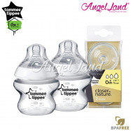 image of Tommee Tippee Closer To Nature PP Bottle 150ml / 5oz Twin Pack - 422100/38 + Tommee Tippee CTN Teat (2pcs/pack) Vari Flow 422140/38