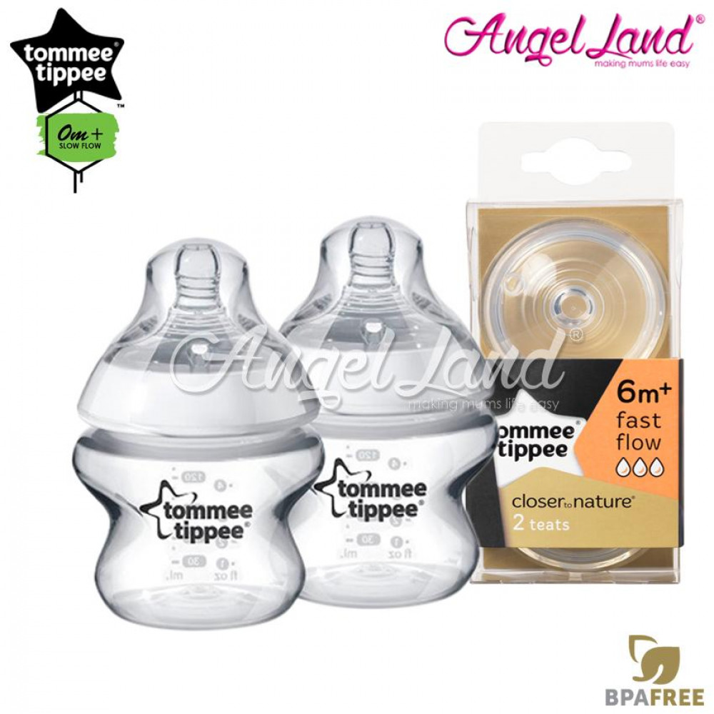 Tommee Tippee Closer To Nature PP Bottle 150ml / 5oz Twin Pack - 422100/38 + Tommee Tippee CTN Teat (2pcs/pack) Fast Flow 421124/38