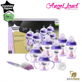 image of Tommee Tippee Closer To Nature Decorated Bottle Newborn Starter Set  Purple 423743/38
