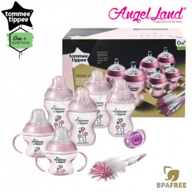 image of Tommee Tippee Closer To Nature Decorated Bottle Newborn Starter Set Pink 423742/38