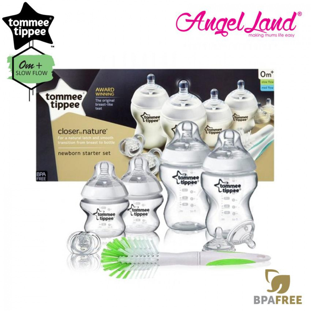 Tommee Tippee Closer To Nature Decorated Bottle Newborn Starter Set Green 423553/38