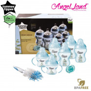 image of Tommee Tippee Closer To Nature Decorated Bottle Newborn Starter Set Blue 423741/38