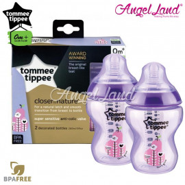 image of Tommee Tippee Closer To Nature Tinted Bottle Design 260ml/9oz Twin Pack - Purple 422583/38
