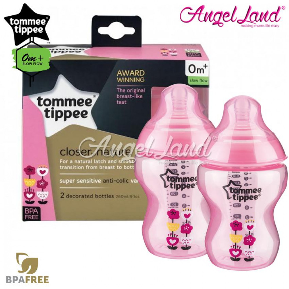 Tommee Tippee Closer To Nature Tinted Bottle Design 260ml/9oz Twin Pack - Pink 422581/38