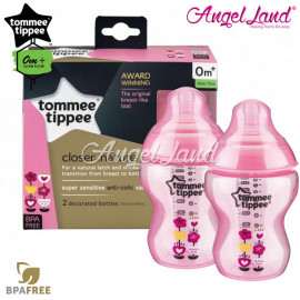 image of Tommee Tippee Closer To Nature Tinted Bottle Design 260ml/9oz Twin Pack - Pink 422581/38