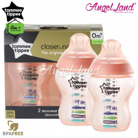 image of Tommee Tippee Closer To Nature Tinted Bottle Design 260ml/9oz Twin Pack - Peach 422587/38