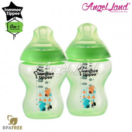 image of Tommee Tippee Closer To Nature Tinted Bottle Design 260ml/9oz Twin Pack - Lime Green 422582/38