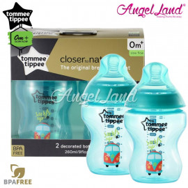 image of Tommee Tippee Closer To Nature Tinted Bottle Design 260ml/9oz Twin Pack - Blue 422580/38