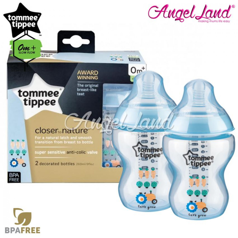 Tommee Tippee Closer To Nature Tinted Bottle Design 260ml/9oz Twin Pack - Black 422585/38