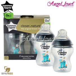 image of Tommee Tippee Closer To Nature Tinted Bottle Design 260ml/9oz Twin Pack - Jade Green 422588/38