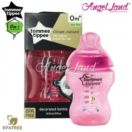 image of Tommee Tippee Closer To Nature Tinted Bottle 260ML/9oz Single Pack - Magenta 422576/38