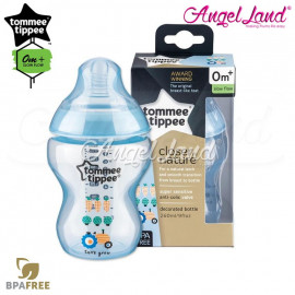 image of Tommee Tippee Closer To Nature Tinted Bottle 260ML/9oz Single Pack - Blue 422570/38