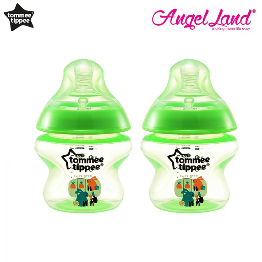 Tommee Tippee Closer to Nature Tinted Bottle 150ml (5oz) x2 - Lime Green