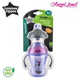 image of Tommee Tippee 2 Stage Easy Drink Cup 230ml (7M+) - 447143/38, 447144/38, 47145/38 - purple - 447143/38