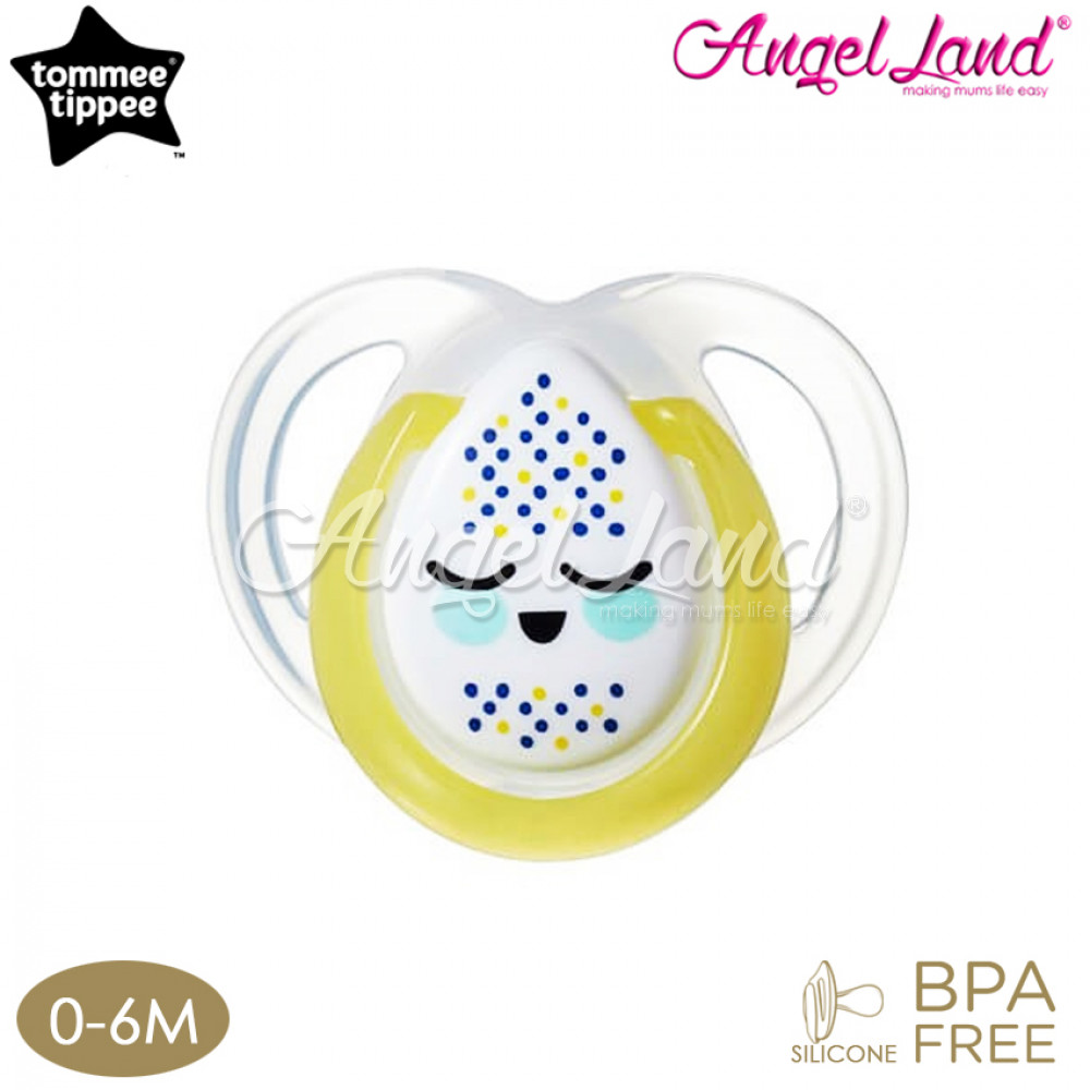 Tommee Tippee Closer to Nature Night Time Soother- 1pk 0-6M - Yellow
