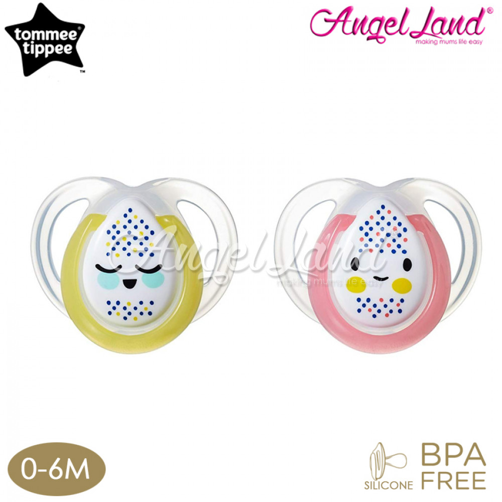 Tommee Tippee Closer to Nature Night Time Soother with Hygienic Case (2 PC) 0-6M - Pink/Yellow