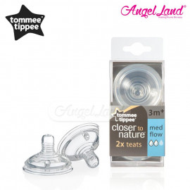 image of Tommee Tippee Closer To Nature Teat (2pcs/pack) Medium Flow - 421122/38