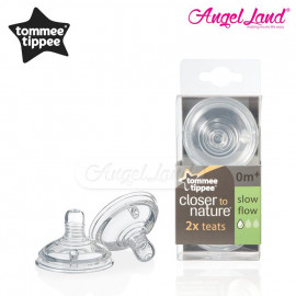 image of Tommee Tippee Closer To Nature Teat (2pcs/pack) Slow Flow - 421120/38