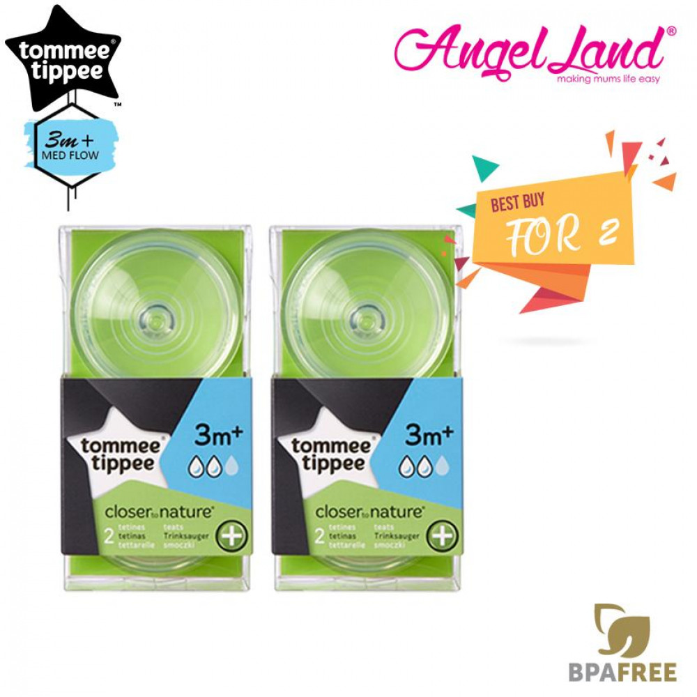[Best Price for 2x] Tommee Tippee Closer to Nature Anti-Colic Teat Medium Teat