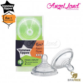 image of Tommee Tippee Closer to Nature Anti-Colic Teat (2pcs/pack) Fast Flow Teat