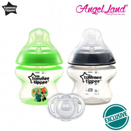 image of Tommee Tippee Closer to Nature Tinted Bottle 150ml (5oz) Green +Tommee Tippee Closer to Nature Tinted Bottle 150ml (5oz) Black Ring + Tommee Tippee Closer to Nature Soother 0-2m