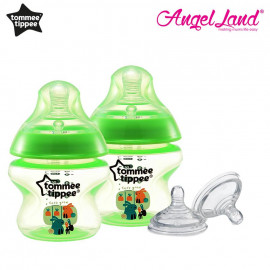 image of Tommee Tippee Closer to Nature Tinted Bottle 150ml (5oz) Green x2 + Tommee Tippee Closer to Nature Teat Medium Flow(3m+) 421122/38