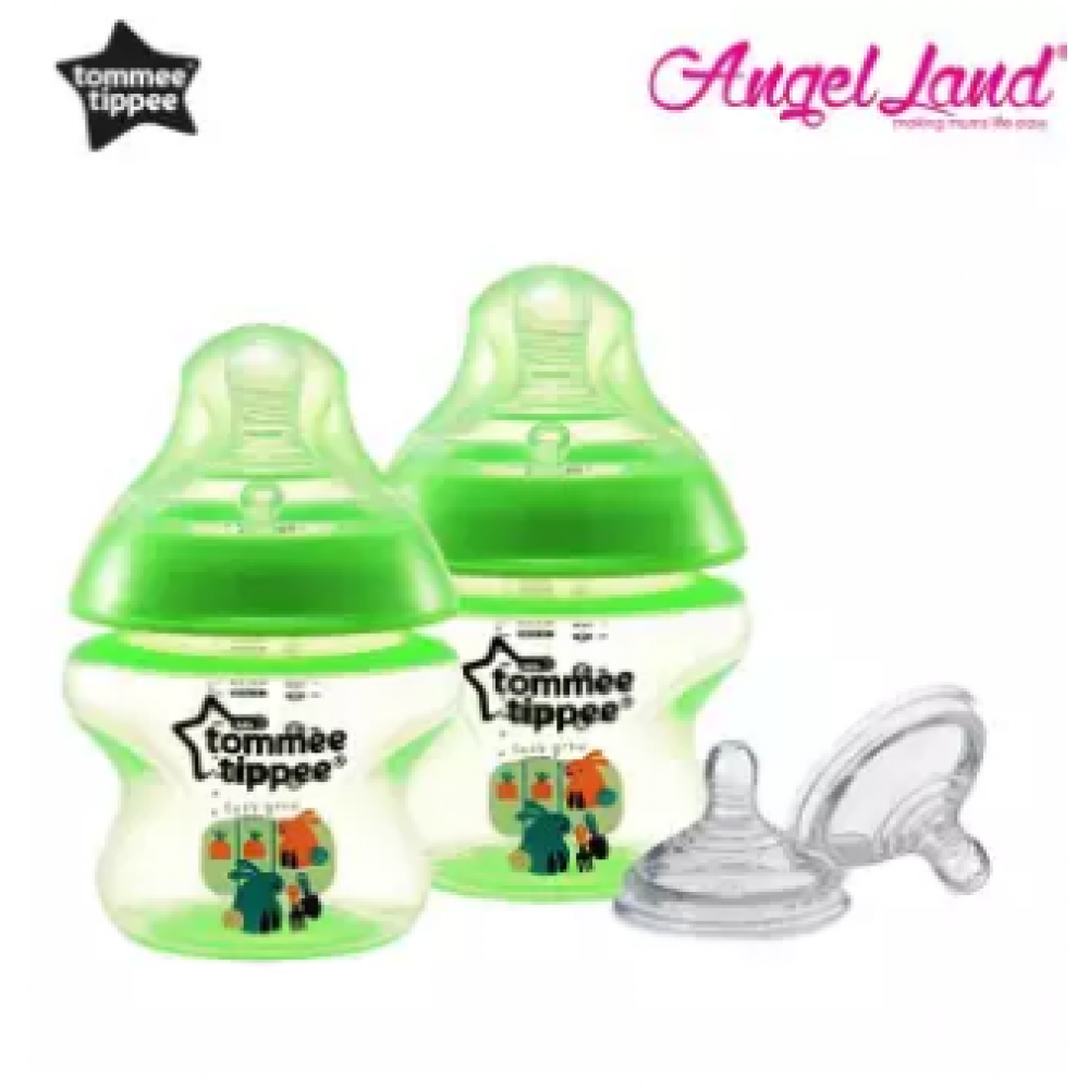 Tommee Tippee Closer to Nature Tinted Bottle 150ml (5oz) Green x2 + Tommee Tippee Closer to Nature Teat Fast Flow(6m+) 421124/38