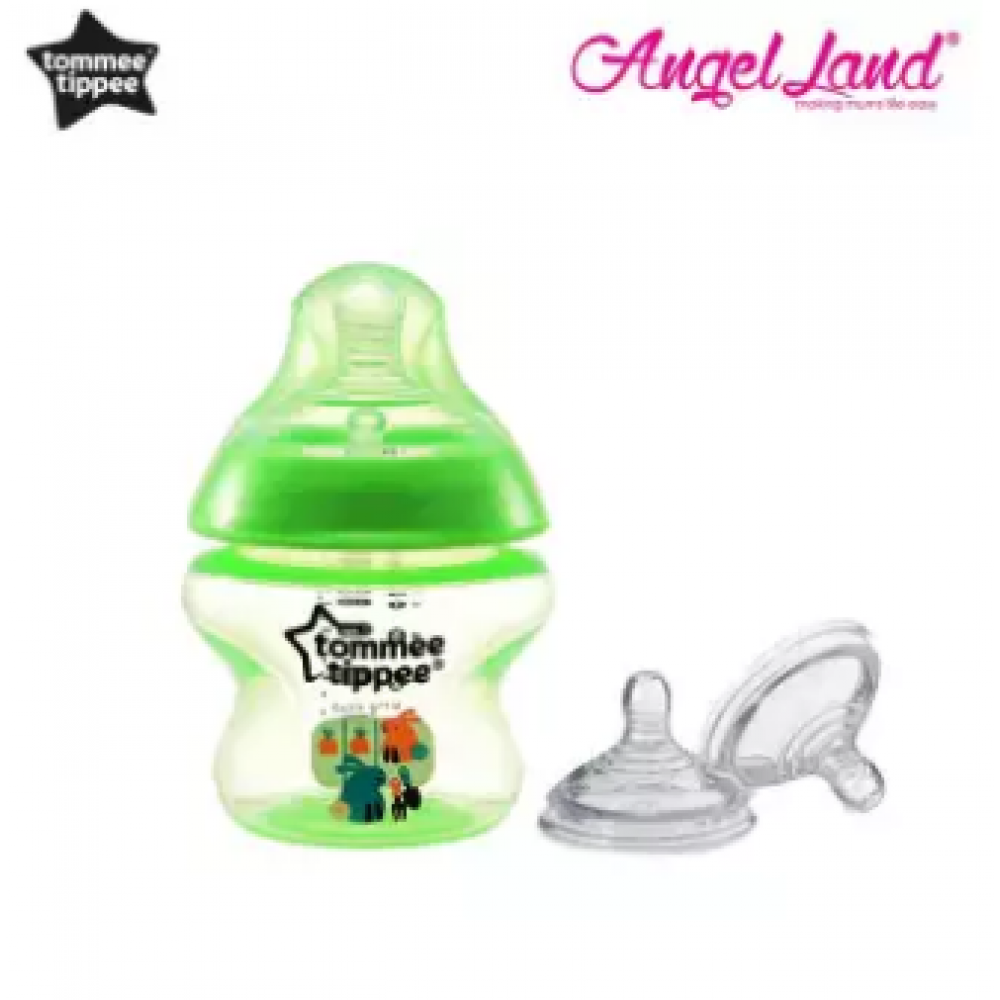 Tommee Tippee Closer to Nature Tinted Bottle 150ml (5oz) Green + Tommee Tippee Closer to Nature Teat Vari Flow(0m+) 422140/38
