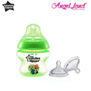 image of Tommee Tippee Closer to Nature Tinted Bottle 150ml (5oz) Green + Tommee Tippee Closer to Nature Teat Vari Flow(0m+) 422140/38