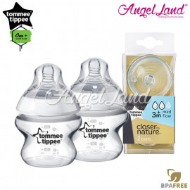 image of Tommee Tippee Closer To Nature PP Bottle 150ml / 5oz Twin Pack - 422100/38 + Tommee Tippee CTN Teat (2pcs/pack) Medium Teat
