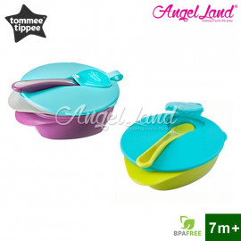 image of Tommee Tippee Feeding Bowl with Spoon and Leakproof Lid 446718/38 (Green Blue)