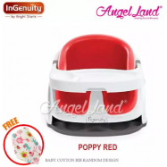 image of Ingenuity Baby Base 2-in-1 With Gray Bottom + Free Baby Cotton Bib (random)- Poppy Red 10868