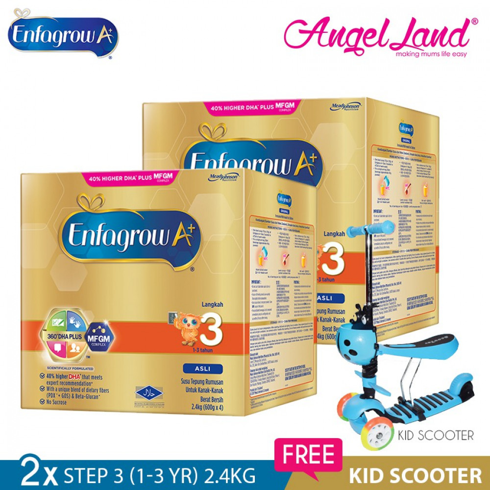 Enfagrow A+ Step 3 Milk (1-3years) 2.4kg x2 [FOC Kid Scooter Random Color]