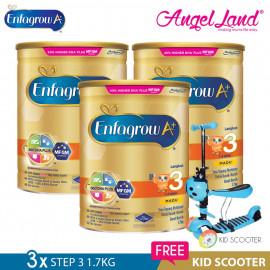 image of Enfagrow A+ Step 3 Milk (1-3years) 1.7kg X3 [FOC Kid Scooter Random Color]