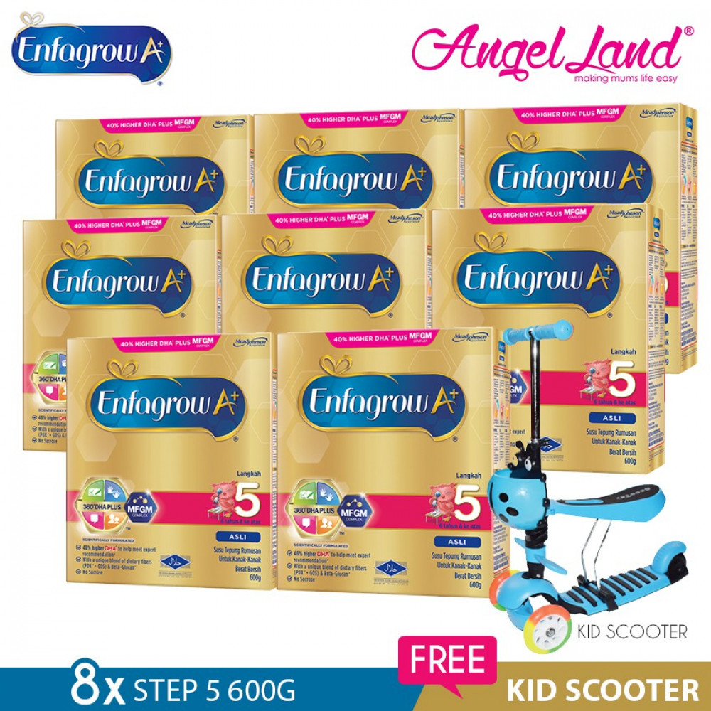 Enfagrow A+ Step 5 Milk (6years+) 600g X8 [FOC Kid Scooter Random Color]