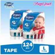 image of Drypers Wee Wee Dry Tape Diaper S82/M74/L62/XL50/XXL40 (2packs)