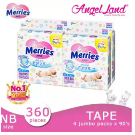 image of Merries Tape Diapers Jumbo Pack NB90/S82/M64/L54/XL44 (4 Packs)