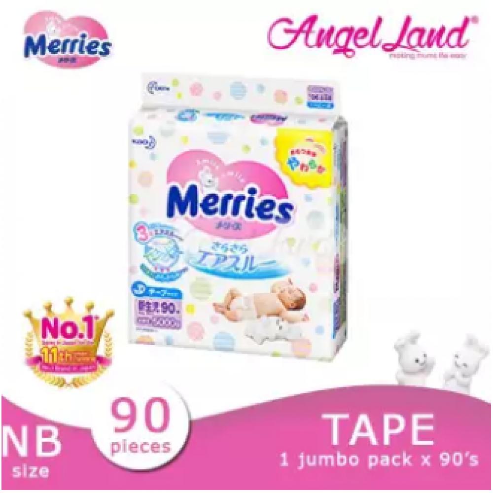 Merries Tape Diapers Jumbo Pack NB90/S82/M64/L54/XL44 (1 Pack)