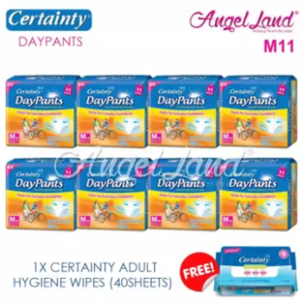 Certainty Daypants Disposable Adult Pants Regular M11 (8packs) + FOC 1 Hygiene Wipes
