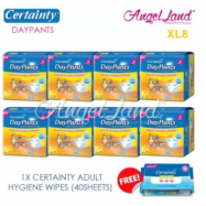 image of Certainty Daypants Disposable Adult Pants Regular XL8 (8packs) + FOC 1 Hygiene Wipes