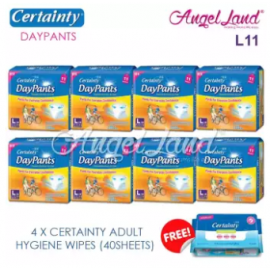image of Certainty Daypants Disposable Adult Pants Regular Pack L11 (8 packs)+ Free 4 packs Wipes